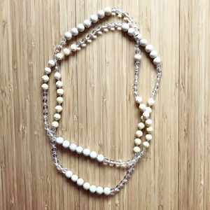 Long wooden & cream beaded pullover necklace